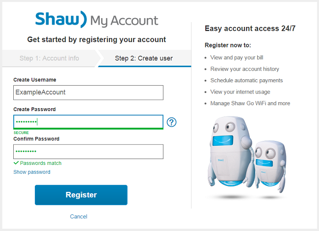 Shaw online billing account